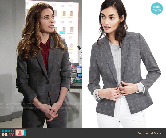 Banana Republic Lightweight Wool Peplum Blazer worn by Victoria Newman (Amelia Heinle) on The Young & the Restless