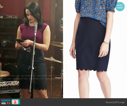 Banana Republic Scalloped Pencil Skirt worn by Veronica Lodge on Riverdale