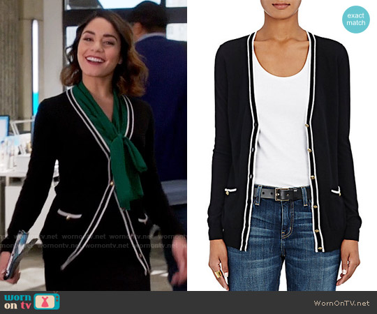 Barneys New York Tipped Cashmere Cardigan worn by Vanessa Hudgens on Powerless
