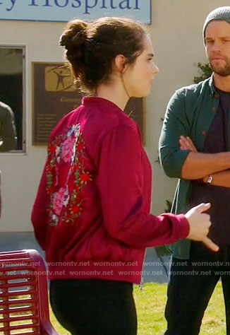 Bay's red bomber jacket with floral embroidered back on Switched at Birth