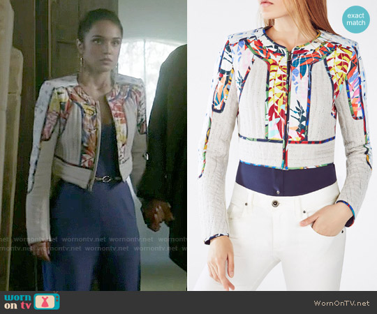 Bcbgmaxazria Motley Tropical Print-Blocked Tweed Jacket worn by Summer Bishil on The Magicians
