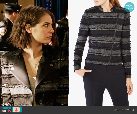 Bcbgmaxazria Jaison Striped Fringe Jacket worn by Thea Queen (Willa Holland) on Arrow