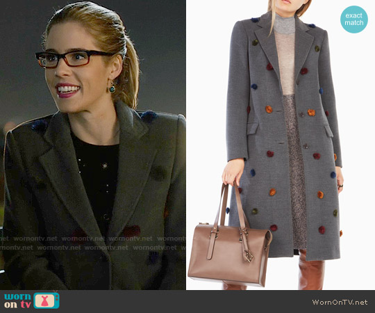 Bcbgmaxazria Jaxson Pom Pom Coat worn by Emily Bett Rickards on Arrow