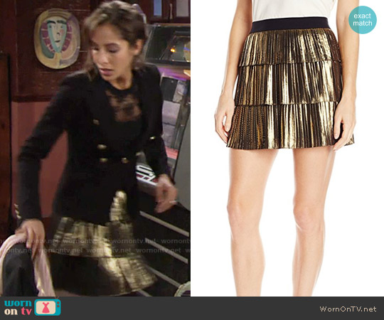 Bcbgmaxazria Zana Metallic Pleated Skirt worn by Lily Winters on The Young & the Restless