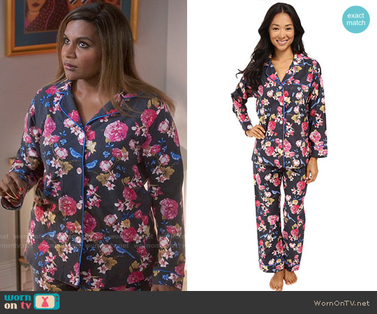 BedHead Classic PJ Set in Mr Blue Jay worn by Mindy Kaling on The Mindy Project