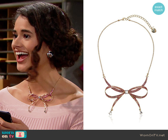 Betsey Johnson Marie Antoinette Pave Bow Necklace worn by Danube Hermosillo on The Bold & the Beautiful