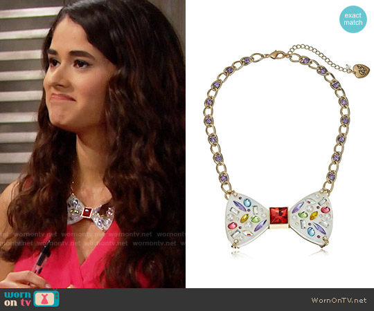 Betsey Johnson Sweet Shop Bow Necklace worn by Danube Hermosillo on The Bold & the Beautiful