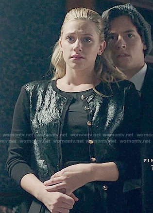 Betty's black lace front cardigan on Riverdale