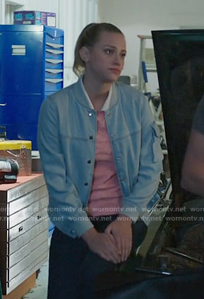 Betty's chambray bomber jacket on Riverdale