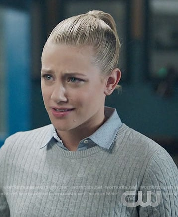 Betty's grey cable knit sweater on Riverdale