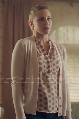 Betty's pink spotted print top on Riverdale