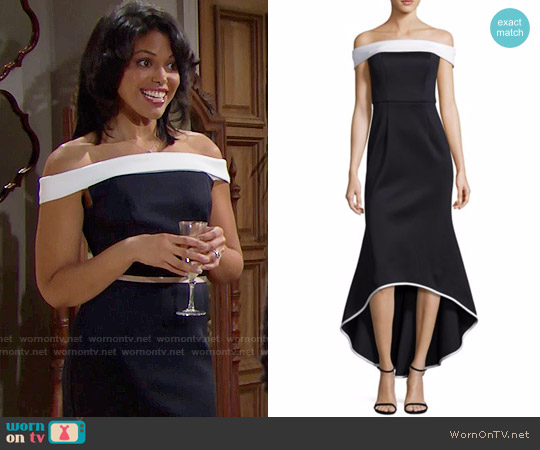 Black Halo Leta Gown worn by Maya Avant (Karla Mosley) on The Bold & the Beautiful