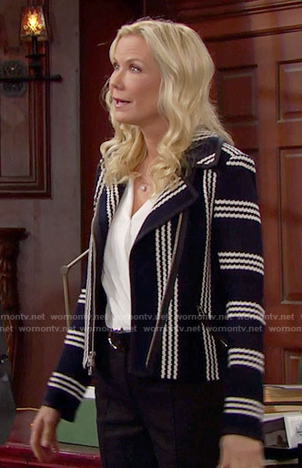 Brooke's black and white striped jacket on The Bold and the Beautiful