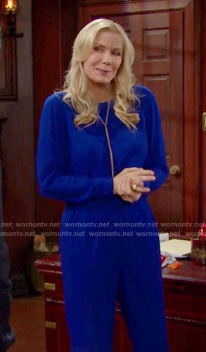 Brooke's blue jumpsuit on The Bold and the Beautiful