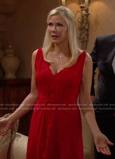 Brooke's red high-low dress on The Bold and the Beautiful
