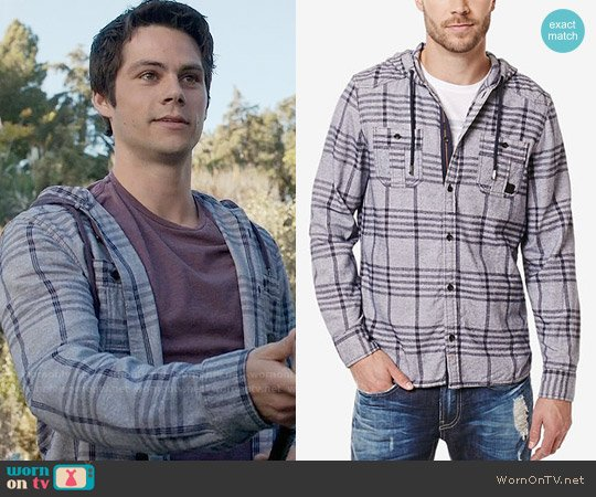 Buffalo David Bitton Siklaus Plaid Hooded Shirt worn by Dylan O'Brien on Teen Wolf