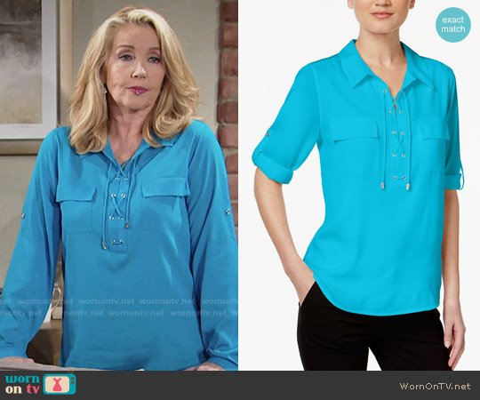 Calvin Klein Lace-Up Roll-Tab Blouse worn by Melody Thomas-Scott on The Young & the Restless
