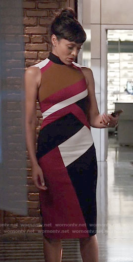 Camille's colorblock sleeveless dress on Bones