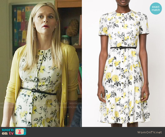 Carolina Herrera Floral Print Belt Dress worn by Reese Witherspoon on Big Little Lies