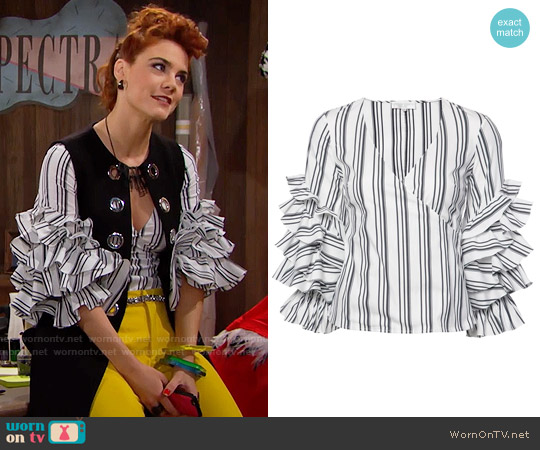 Caroline Constas Athena Striped Blouse worn by Courtney Hope on The Bold & the Beautiful