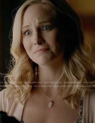 Caroline's white pendant necklace on The Vampire Diaries
