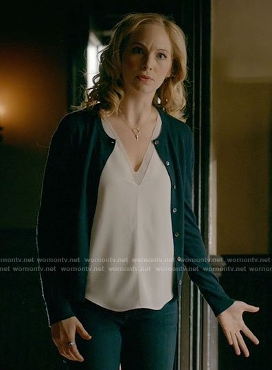 Caroline's white v-neck layered top on The Vampire Diaries