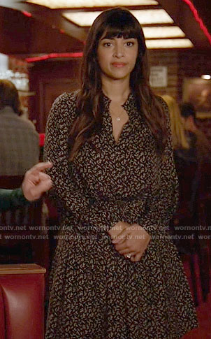 Cece's black and white printed long sleeve dress on New Girl