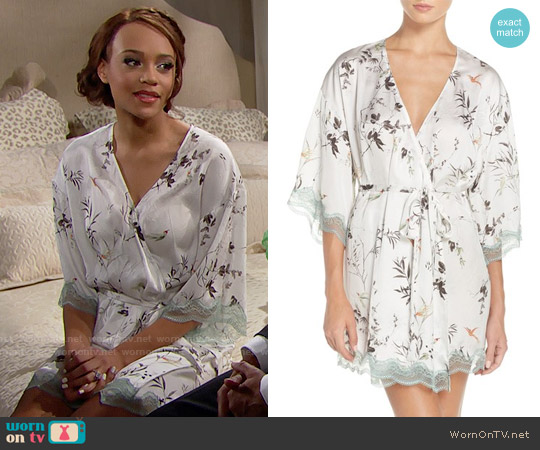 Chelsea28 Floral Print Satin Kimono worn by Reign Edwards on The Bold & the Beautiful