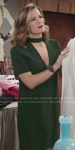 Chelsea's green short sleeved shift dress on The Young and the Restless
