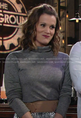 Chelsea's grey turtleneck with black back on The Young and the Restless