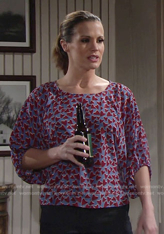 Chelsea's heart print blouse on The Young and the Restless
