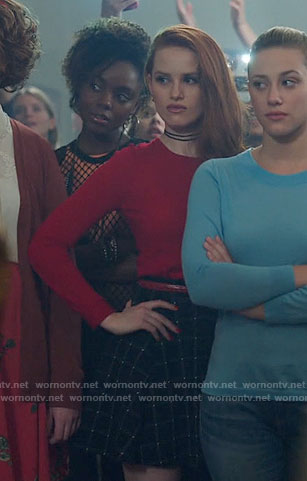 Cheryl's red top and black checked skirt on Riverdale