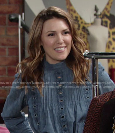 Chloe's chambray eyelet top on The Young and the Restless