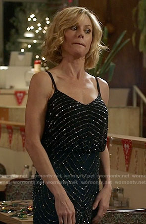 Claire's navy beaded gown on Modern Family