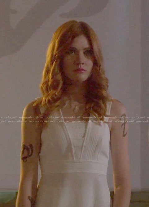 Clary's white peplum top with back slit on Shadowhunters