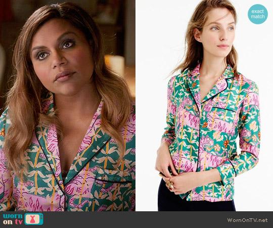 Drake's for J. Crew Green Bengal Tiger Pajamas worn by Mindy Lahiri (Mindy Kaling) on The Mindy Project