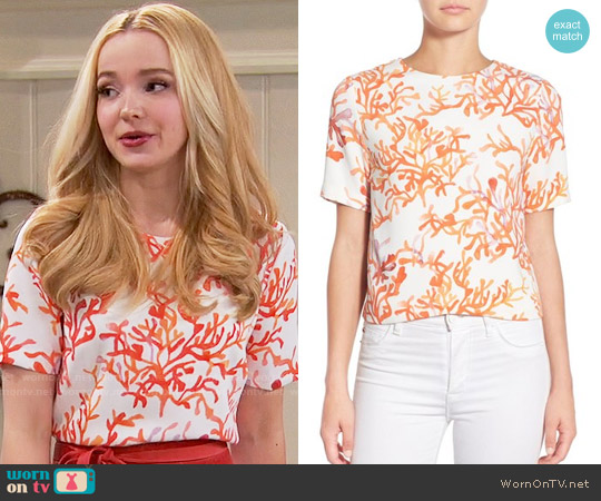 Cooper & Ella 'Lottie' Coral Print Crepe Top worn by Dove Cameron on Liv & Maddie