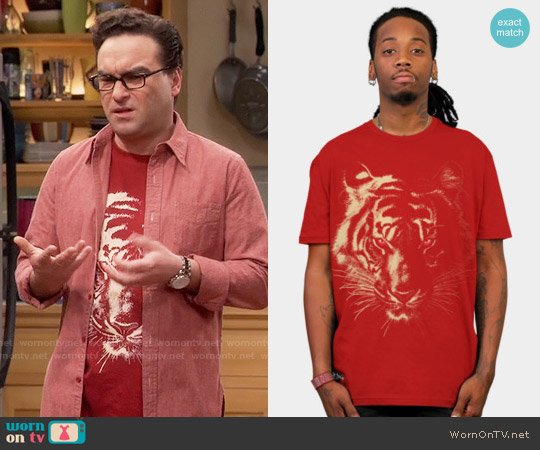 Design by Humans Story of the Tiger Tee worn by Johnny Galecki on The Big Bang Theory