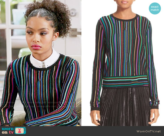 Diane von Furstenberg Arisha Sweater worn by Yara Shahidi on Blackish