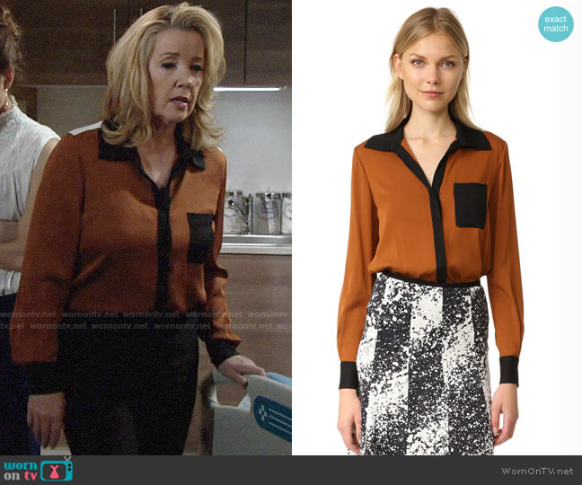 Diane von Furstenberg Carter Blouse in Copper worn by Melody Thomas-Scott on The Young & the Restless