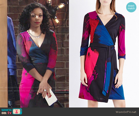 Diane von Furstenberg Julian Two Dress in Virtuoso amethyst worn by Hilary Curtis (Mishael Morgan) on The Young & the Restless