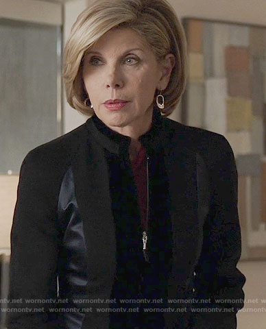 Diane's black velvet and satin panel jackets on The Good Fight
