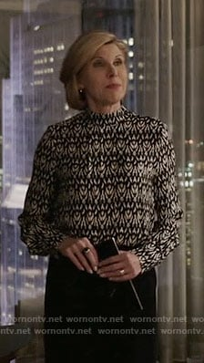 Diane's black and white ikat print blouse on The Good Fight