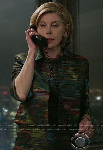 Diane's multi-colored print jacket and dress on The Good Fight