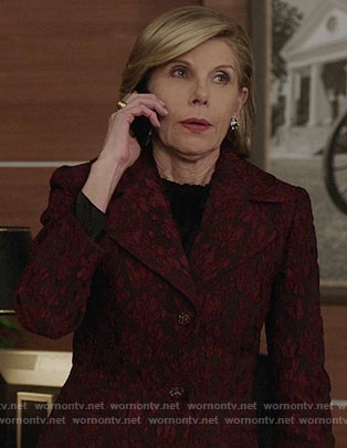 Diane's red floral jacket on The Good Fight
