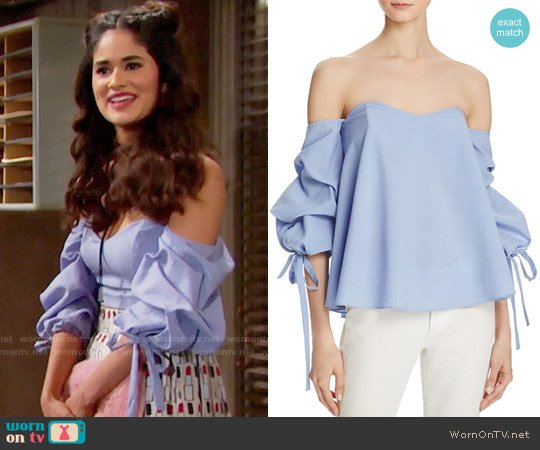 Do and Be Bustier Tie Sleeve top worn by Danube Hermosillo on The Bold & the Beautiful