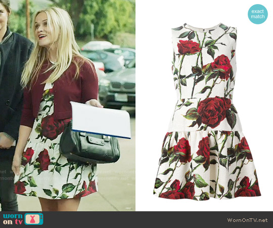 Dolce & Gabbana Rose Print Brocade Dress worn by Reese Witherspoon on Big Little Lies