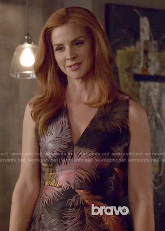 Donna's feather print dress on Suits