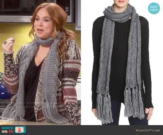 Echo Cable Knit Fringe Scarf worn by Kristin Baxter on Last Man Standing