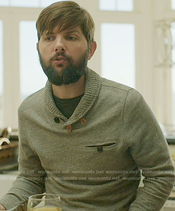 Ed's grey shawl collar sweater on Big Little Lies
